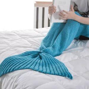 Accessories - ⬇️Knitted Mermaid Tail Blanket in Lake Blue🐟